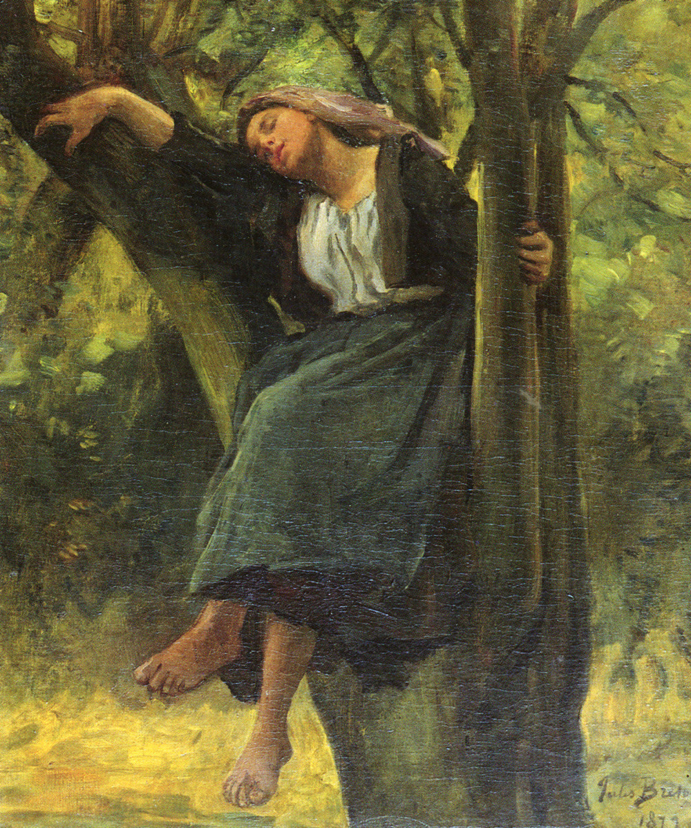 French 1827 to 1906 Asleep In The Woods SnD 1877 O C 616 by 508 cm